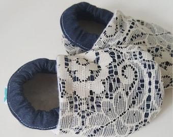 Denim, Jean, blue, lace, Moccasins, baby crib shoes, soft sole
