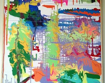 "Framed Drip Painting by Benjamin Marcus - ""Village Bridge"""