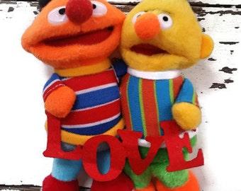 Bert and Ernie Love Holiday Christmas  Ornament LGBTQ Gay Repurposed YU0016