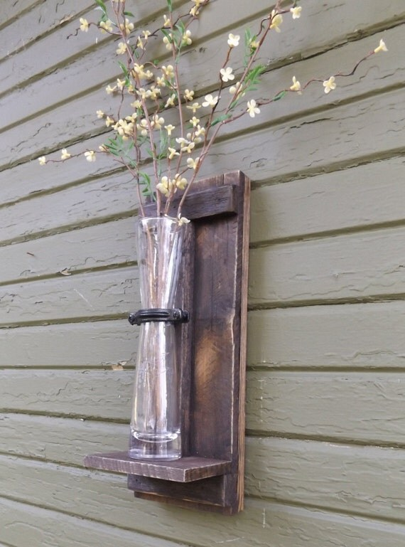 Rustic Farmhouse Wall Sconces : Rustic Wall Sconce. Wood Wall Sconce. Wall by OurWoodsCreations