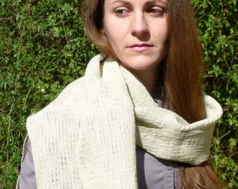 Light ecru hand-woven scarf, flax and cotton. For her and him.