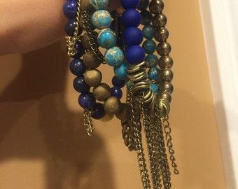Blue and Gold Stack Bracelet
