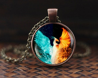 Fire and Water Necklace, Phoenix fire and water pendant, Phoenix Necklace, Phoenix Jewelry, red and blue Spiritual necklace