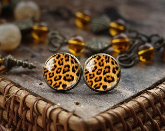 Leopard print stud earrings, Leopard stud earrings, animal print earrings, post earrings, glass dome earrings, nature earrings