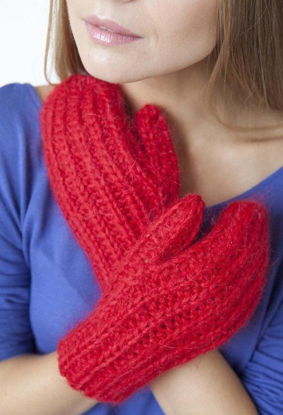 Women's Red Winter Knit Hand Warmer Mitten Gloves