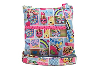 Shopkins Crossbody Bag // Sling Bag // Crossbody Purse // Hipster // Lippy Lips // Kooky Cookie // Strawberry Kiss