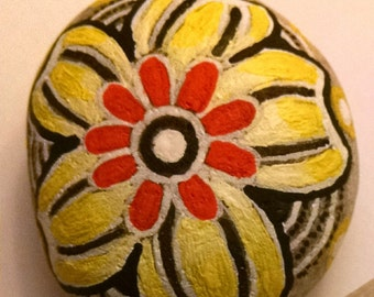 Yellow Flower on Rock Handpainted Stone Mandala Rock