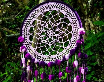 Dream catcher purple, attrape rêves, xamanism, tenture murale, decoration murale, fait main, capteur de reve, protection rêve