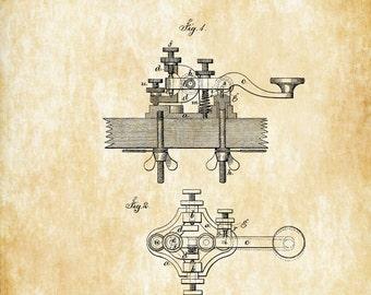 Telegraph Keys Patent - Patent Print, Wall Decor, Telegraph Poster, Patent, Office Decor, Geek Gift, Telegraph Patent