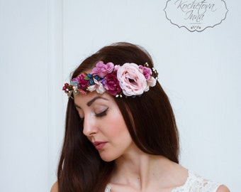 Flower crown Bridal floral crown Flower headband Flower hair wreath Pink floral crown Boho floral crown Wedding flower crown Flower halo