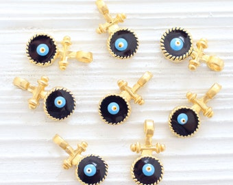 2pc evil eye charms, gold earring charm, evil eye pendant, enemal, navy blue evil eye, gold evil eye, good luck beads, evil eye beads