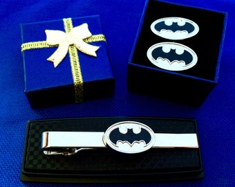 Batman tie bar & cufflinks gift set  idea tie clasp gift idea~Handmade in the USA~FAST Shipping from the USA