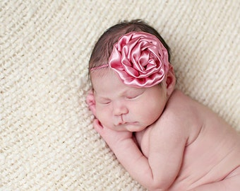Rose satin flower newborn headband, infant headband, baby headband, newborn photo prop, pink headband, toddler headband, vintage headband