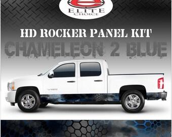 "Chameleon Hex 2 Blue Camo Rocker Panel Graphic Decal Wrap Truck SUV - 12"" x 24FT"