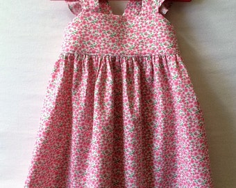 Flower Girl Dress, Little Girl Dress, Baby Girl Dress, Roses Baby Dress, Toddler Dress, Flutter Sleeve Dress, Childs Dress, Kids Clothes