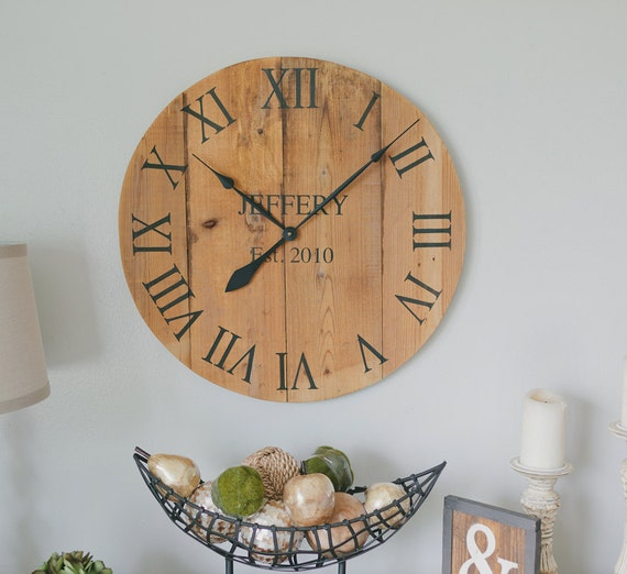 large wooden wall clock personalized by woodlanecreationsllc