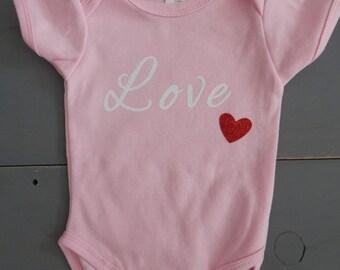 """Light Pink """"Love"""" Baby Valentine's Day Onesie"""