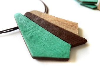 Mint green necklace geometric, Mint green jewelry, Geometric pendant necklace, Brown necklace, Gift ideas for her, Boho chic necklace