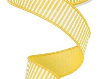 "1.5""X 10 yards Horizontal Stripes/Royal  Yellow/White RG178029"