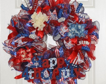4th of July - Fourth of July Wreath – Patriotic Wreath – Patriotic Decor - Red White and Blue Wreath – Deco Mesh Wreath - Home Décor