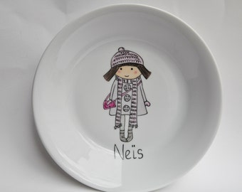Plate with a little girl from Amélie Biggs, with first name