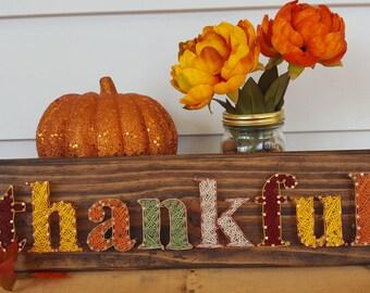 Thankful String Art// Thanksgiving Decor// Fall Decor// Pallet Sign//