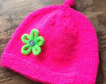 baby hat - neon pink