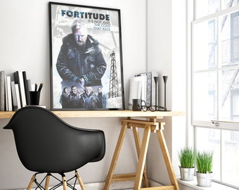poster fortitude, iceland, tv series prints, mammut poster, stanley tucci, crime poster, polar bear, art poster, fortitude, scandinavian.