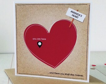 Anniversary You Are Here, Personalised  Card