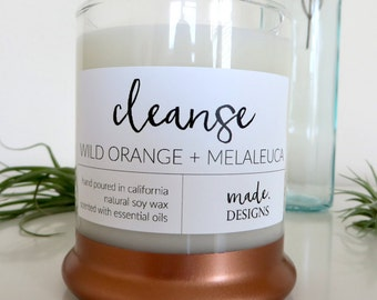 Natural Soy Wax Candle Scented with Essential Oils | Wild Orange and Melaleuca - Cleanse | Brass Accent | Wild Orange and Melaluca Scented