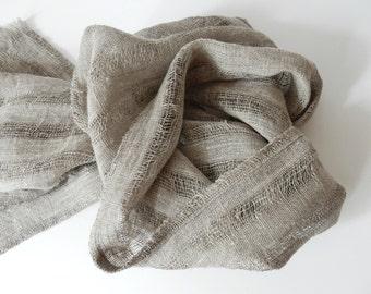 Pure linen scarf natural linen shawl Unisex scarf spring scarf stripped shawlflax linen grey Unisex scarf summer linen Fashion Accessories