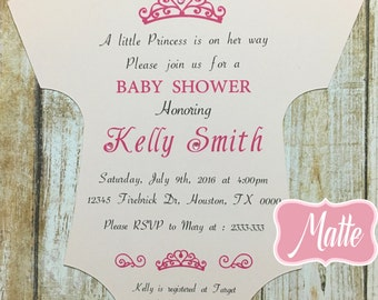 Set of 10 Printed Baby Shower Princess-Onesie Princess Baby Shower Girl- Printed Die Cut Invites-Royal Invitation-Onesie Girl Invitations