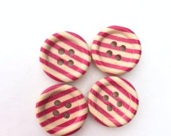 Hot Pink Stripe Button - Wooden Buttons - 4 Hole Buttons - Flatback Buttons - Embellishment Round Buttons - Half Inch Button (15 mm Button)