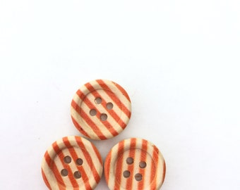 Wood Buttons Orange Stripe Button Flat Back - 4 Holes 1/2 inch - 15 mm Small Button - Orange Round Buttons- Flat Back Buttons Craft Supplies