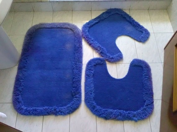 Vintage tris tappeti blu per il bagno tappetini per di - Tris tappeti bagno ...
