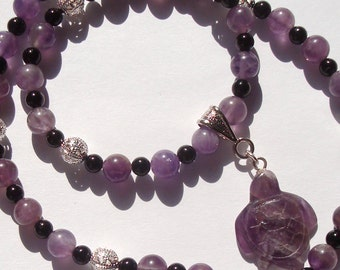 Beaded Amethyst Necklace with Turtle Pendant