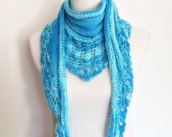 Women's All-Season Cotton Scarf in Shades of Blue