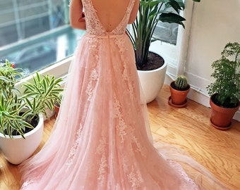 Pink Blush Lace Wedding Dress