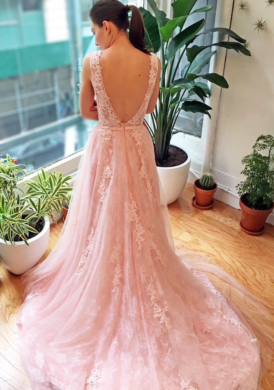 Pink Blush Lace V Back Wedding Dress