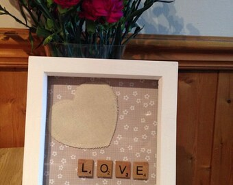 love, scrabble art in white frame