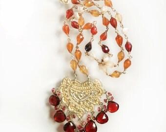 Red Garnet Necklace--Gemstone Necklace