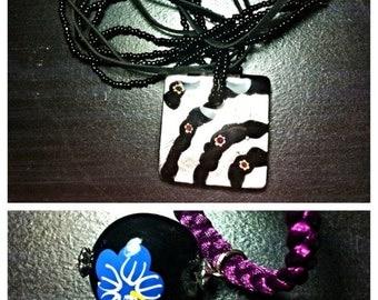 2 Handmade Glass Pendant Necklaces