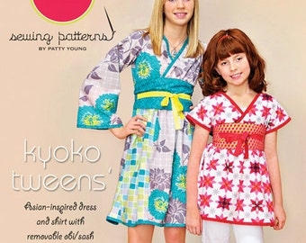 ModKid - Kyoko Tweens - Paper Sewing Pattern for Kimono style dress & top