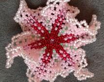 Brooch, Flower, Beaded, Pink/Rose