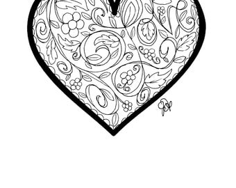 Heart Coloring Page!