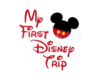 My First Disney Trip Minnie Mickey Disney Pants Classic Matching Baby 2016 1st Vacation World Disney Iron On Decal Vinyl for Shirt 002