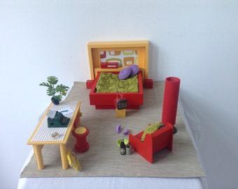 Dollhouse miniature furniture scale 1:12  Design,Handmade, ,seventies style