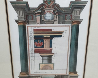 Black & Gold Framed Colorful Greek Revival Architectural Print