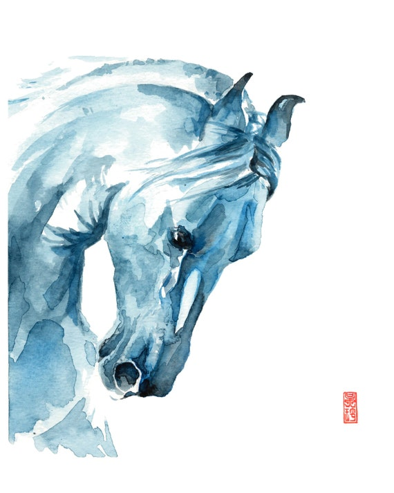 White Horse Watercolor Fine Art Giclee Print/ Animal painting/