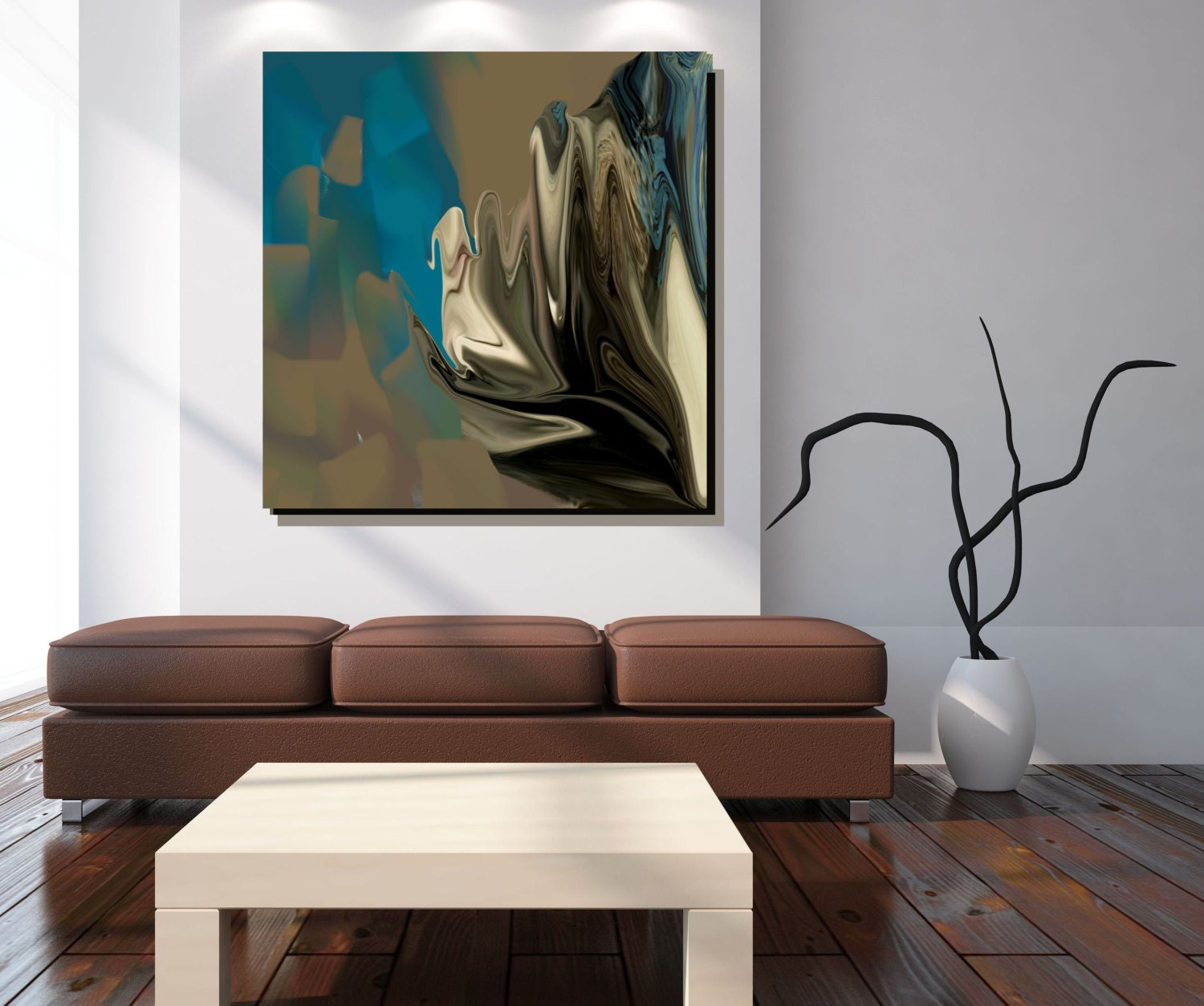 Blue Wall Art Canvas Art Large Abstract Print Affordable Wall
